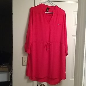 Solid tie front shirt dress